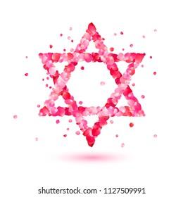 David star of pink rose petals symbol. Vector icon