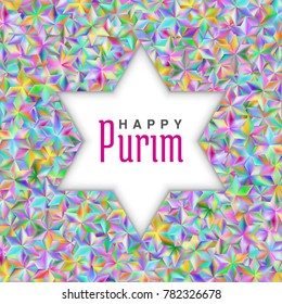 David star with Shine stars of various colors with a glow on a light background. Happy Purim congratulation pink text.