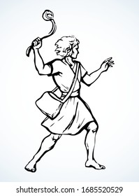 David throws a stone from the sling. Vector drawing