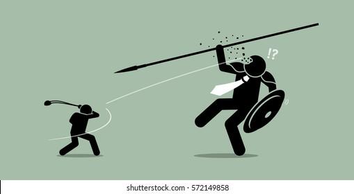 David versus Goliath. Vector artwork depicts underdog wins.