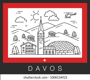 Davos, Switzerland. View of the city attractions. Vector illustration