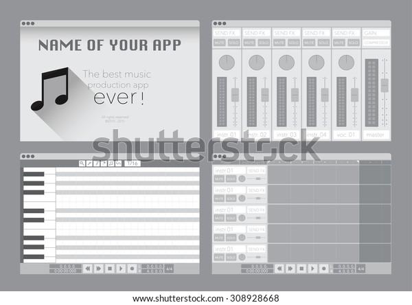 Daw Music Production Software Digital Audio Stock Vector