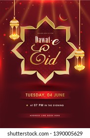 Dawat-E-Eid invitation card design with hanging illuminated lanterns on shiny red background with event details.