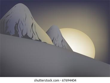 Dawn in high snow-bound mountains