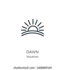 Dawn icon. Thin linear dawn outline icon isolated on white background from weather collection. Line vector sign, symbol for web and mobile