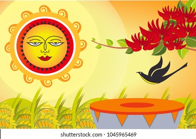 The dawn of the Sinhala & Tamil New Year vector.Sri Lankan Big event.
