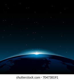 Dawn from space. Dawn from space. Rising sun behind the earth. Vector background