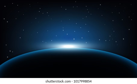 Dawn from space. Dawn from space. Rising sun . Vector background