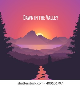Dawn in the Valley. Summer sunrise landscape. Forest, lake, river, mountains and sun. Beautiful vector background.