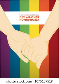 Day against homophobia greeting card with rainbow sign.