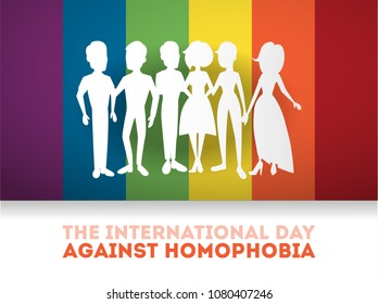 Day against homophobia greeting cards with rainbow sign.