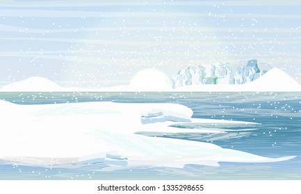 Day in the Arctic or Antarctic. Shore in the snowy mountains and snowdrifts. Glacier on the other side of the sea. Realistic Vector Landscape