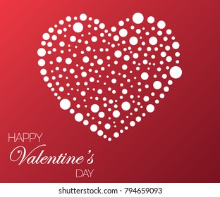 Valentine's day background with white heart made from small white circles