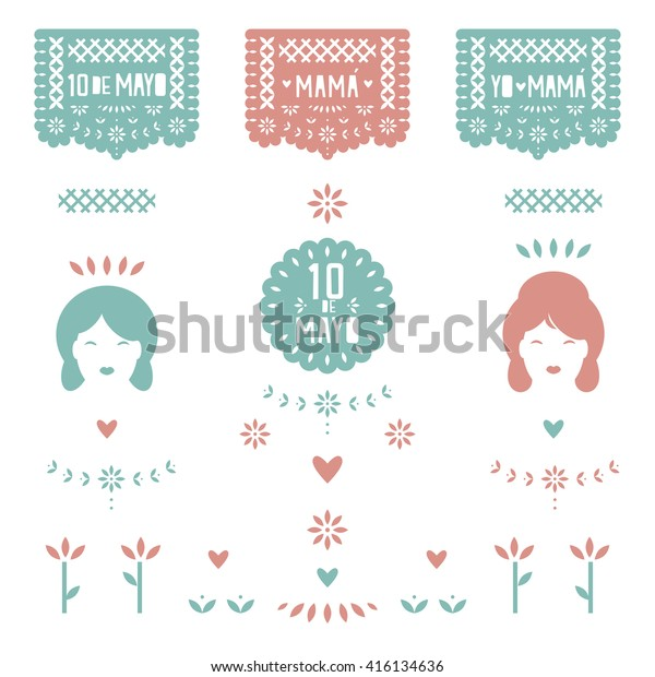Day Banner Paper Cut Spanish Translation Stock Vector