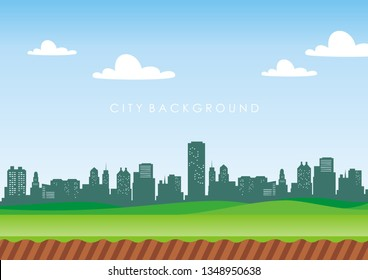 DAY City Background Silhouette Landscape Beautiful for design of banners, flyers and much more.