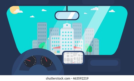 Day City Life Concept. Town street from inside car interior with wheel, speedometer, gps navigator. Urban Landscape Banner with buildings, trees, shop, stores, sky and sun. Vector
