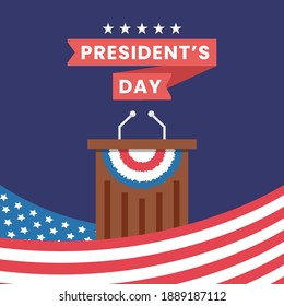 President's Day concept vector Illustration idea for landing page template, United States of america government democracy. Political speech campaign. Parliament voting. Flat Styles