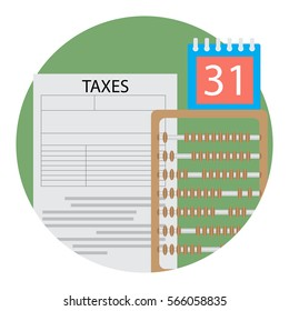 Day of counting taxes icon. Financial tax day, counting money illustration