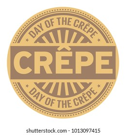 Day of the Crepe rubber stamp, vector Illustration