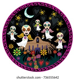 Day of the Dead angelitos with flowers under moon and stars