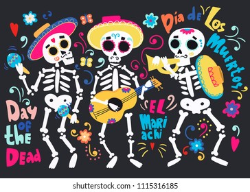 Day of the dead. Band of mariachi skeletons. All elements are isolated
