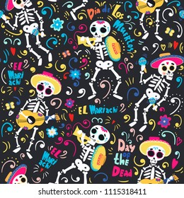 Day of the dead. Band of mariachi skeletons. Colored vector seamless pattern