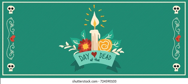 Day of the dead banner for mexican celebration, traditional hand drawn funeral flower bouquet decoration with typography quote. EPS10 vector.