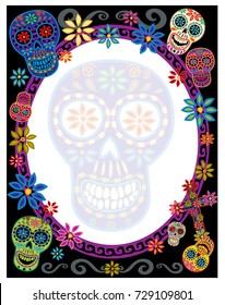 Day of the Dead border with sugar skulls