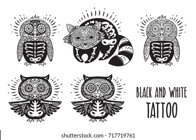 Day of The Dead cartoon calaveras skulls of animals. Perfect for coloring print. Black and white tattoo in vector.