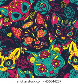 Day of The Dead colorful sugar cat skull with floral ornament and flower seamless pattern