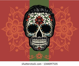 Day of The Dead colorful sugar skull with floral ornament - vector