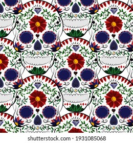 Day of the Dead colorful sugar skull with floral pattern and floral seamless pattern, vector