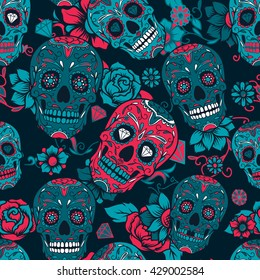 Day of The Dead colorful sugar skull with floral ornament and flower seamless pattern