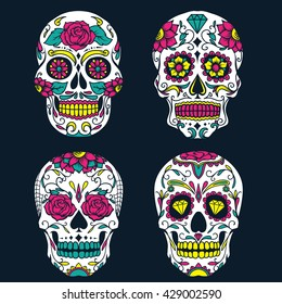 Day of The Dead colorful sugar skull vector illustration set
