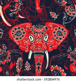 Day of The Dead colorful sugar skull indian elephant with floral ornament seamless pattern