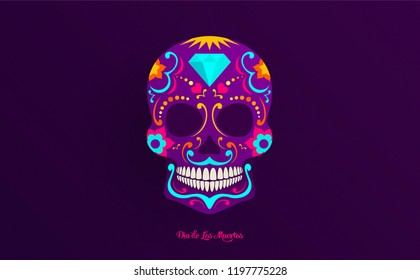 Day of Dead creative wide poster design. skull with bright neon colors. floral ornaments, diamond and heart. Neon ink style shapes.