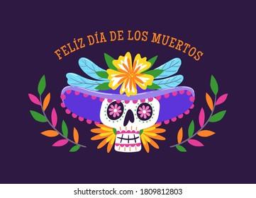 Etiqueta Día de Muertos. Caricatura mexicana. Catrina con sombrero. Ilustración de vector de corte.