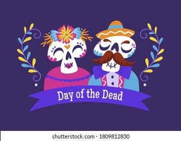 Cartel Día de Muertos. Caricatura mexicana con un texto en inglés. Ilustración de vector de corte.