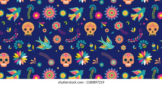 Day of the dead, Dia de los muertos background and seamless pattern