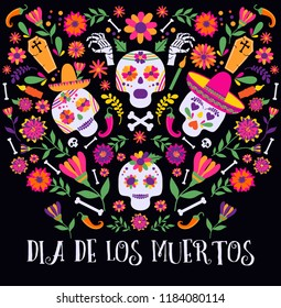 Day of the dead, Dia de los muertos, banner with colorful Mexican flowers and icons. Fiesta, holiday poster, party flyer, funny greeting card
