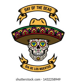 Day of the dead (Dia de los muertos). Mexican sugar skull in sombrero. Design element for poster, logo, label, sign, card, banner. Vector illustration
