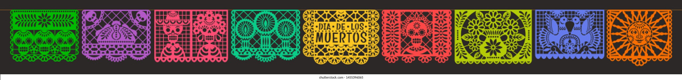 Day of the Dead. Dia de los muetros. Papel Picado. Vector horizontal banner with traditional Mexican paper cutting flags. Isolated on black background.