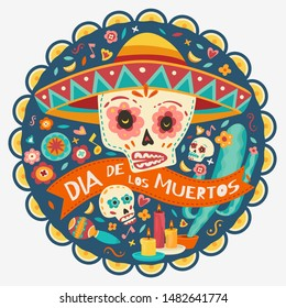 Day of the dead, Dia de Los Muertos, Skulls with flowers, candles. Vector illustration.