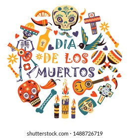 Day of dead, Dia de los moertos, Mexican holiday or fiesta, party flyer or greeting card vector. Mexico symbols, skeleton with guitar and tequila. Maracas and candles, chili pepper and bird, cross