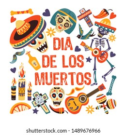 Day of dead, Dia de los muertos greeting card, sugar skull in sombrero vector. Cross and skeleton with guitar, maracas and chili pepper, candles and tequila. Ornated bones, bird and music instruments