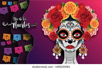 Day of the dead, Dia de los muertos, sugar skull with marigold flowers wreath on paper black color Background.