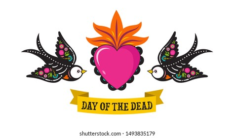 Day of the dead, Dia de los muertos, birds skulls and skeleton decorated with colorful Mexican elements and flowers. Fiesta, Halloween, holiday poster, party flyer. Vector illustration