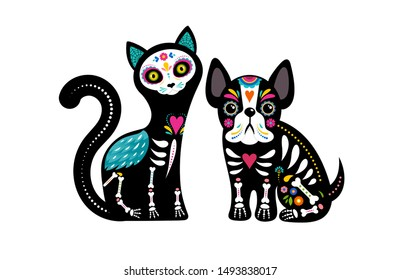 Day of the dead, Dia de los muertos, dog and cat skulls and skeleton decorated with colorful Mexican elements and flowers. Fiesta, Halloween, holiday poster, party flyer. Vector illustration