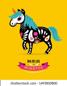 Day of the dead, Dia de los muertos, Unicorn skull and skeleton decorated with colorful Mexican elements and flowers. Fiesta, Halloween, holiday poster, party flyer. Vector illustration