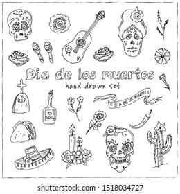 Day of the Dead (Dia de los Muertos) hand drawn doodle set. Vector illustration. Isolated elements on white background. Symbol collection
